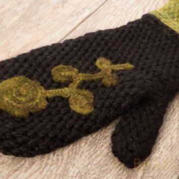 Alpaca merino wool crochet mittens with needle felted applique. Black, chartreuse, olive chunky mitts. Small-medium women's. Ready to ship.