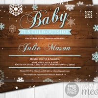 Baby It's Cold Outside Invitations Blue Boy Shower Invite Winter INSTANT DOWNLOAD Chiristmas Holidays Personalize Party Editable Printable