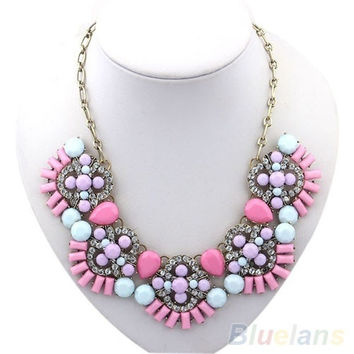 Fashion Bohemian Fan Shape Crystal Drop Bib Statement Pendant Necklace