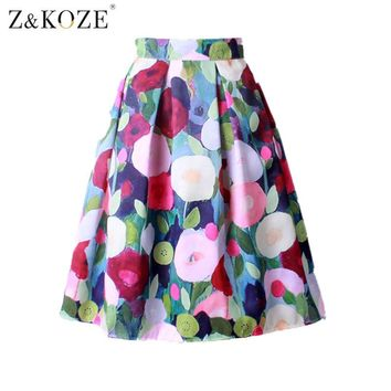 Z&KOZE 2016 Summer Women Vintage Retro Satin Floral Pleated Skirts Audrey Hepburn Style High Waist A-Line tutu Midi Skirt