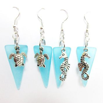 Sea Glass Earrings - Choose Sea Turtle or Seahorse Earrings