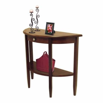 Concord Hall / Console Table,  Half Moon with Drawer, Shelf by Winsome Woods