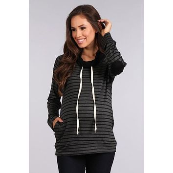 Elbow Patch Stripe Knit Hoodie