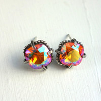 Cast Sterling Silver and Swarovski Studs