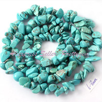 """FREE SHIPPING 4X6-6X8MM FREEFORM CHIPS BLUE TURQUOISE SPACER BEADS STONES FOR DIY NECKLACE BRACELAT JEWELRY MAKING STRAND 16"""""""