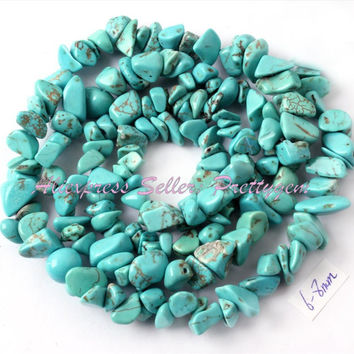 FREE SHIPPING 4X6-6X8MM FREEFORM CHIPS BLUE TURQUOISE SPACER BEADS STONES FOR DIY NECKLACE BRACELAT JEWELRY MAKING STRAND 16""