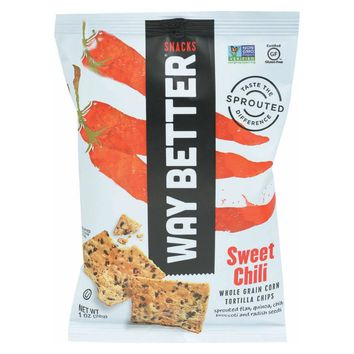 Way Better Snacks Tortilla Chips - Sweet Chili - Case Of 12 - 1 Oz.