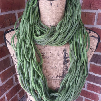 Wool Arm knitted infinity scarf, green ombre, neutral scarf, knit scarf, infinity scarf, Bulky arm knit scarf, fall scarf, shades of green