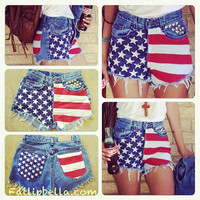 Pre Order ONLY Low rise or  Vintage High waisted frayed studded american flag cut off shorts