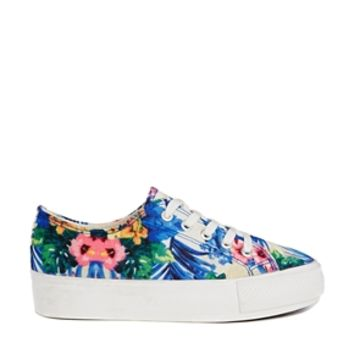 New Look Maribbean Tropical print Flatform Trainers