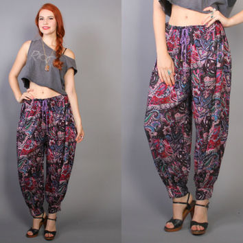 80s Ethnic HAREM PANTS /Bright PAISLEY Print Slouchy Trousers, osfm