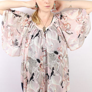Vintage 70s - Pink & Grey Abstract Floral - Sheer - Draped - Flutter - Angel Sleeve - Blouse - Top - Hippie Boho