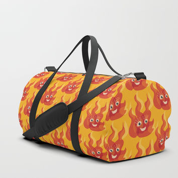 Happy Burning Cartoon Fire Duffle Bag by borianagiormova