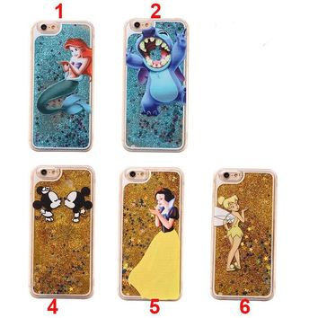 Flowing Liquid Case Cover for iPhone 8 7 6 6splus 5 5s SE Cute Cartoon Princess Mermaid Mickey Stitch Glitter Star PC phone case