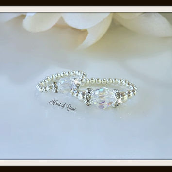 Swarovski Crystal Stretch Ring Set / Mother/daughter/ Big sister/little sister