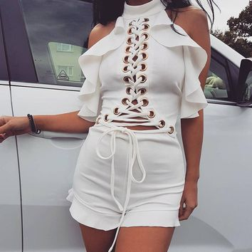 Fashion Solid Color Sleeveless Halter Frills Turtleneck Backless Hollow Bandage Romper Jumpsuit Shorts