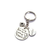 Sister Keychain, I Love You To The Moon And Back, Birthday Gift For Sister, Sibling Gifts, Infinity Present, Heart And Moon Keyring, BFF