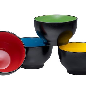 Everyday Ceramic Bowls - Cereal, Soup, Ice Cream, Salad, Pasta, Fruit, 20 oz. Set of 4, By Bruntmor (Black)
