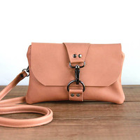 Leather Crossbody Bag, Camel Brown Mini Leather Messenger Bag, Cross Body Purse, Minimalist Phone Clutch, Small Crossbody Leather Pouch