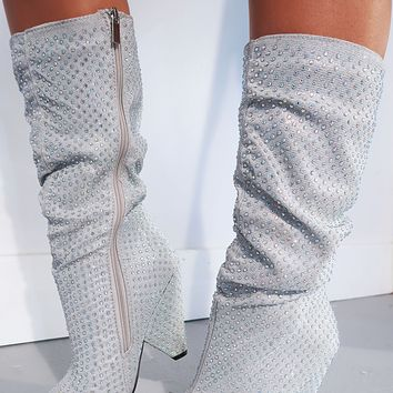 Leave A Little Sparkle Boots: Silver/Iridescent