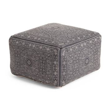 Made in India Indigo Blue Pattern Pouf Ottoman