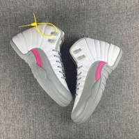 [Free Shipping] Air Jordan 12 White / Gray / Pink Basketball Sneaker