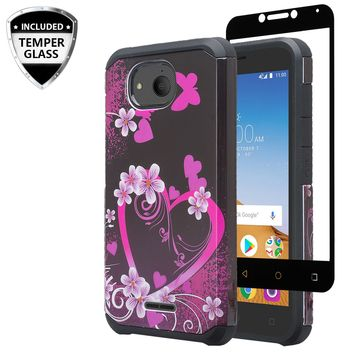 Alcatel Tetra Case, [Include Temper Glass Screen Protector] Slim Hybrid Dual Layer [Shock Resistant] Case for Alcatel Tetra - Heart Butterflies