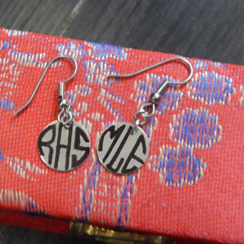 Circle Monogram Personalized Initials Engraved Earrings