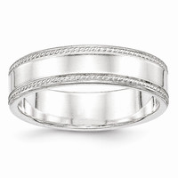 Sterling Silver 6mm Design Edge Wedding Band Ring: RingSize: 5