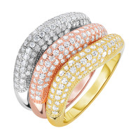 Sterling Silver Rose Yellow And Rhodium Plating Wavy Stackable Triple Set Bands With Cz Stones