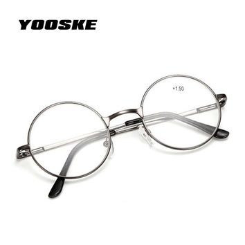 YOOSKE Reading Glasses Retro Men Women Round Mirror For Harry Potter Metal Frame Glasses Plain Mirror Personalized + 100...+400