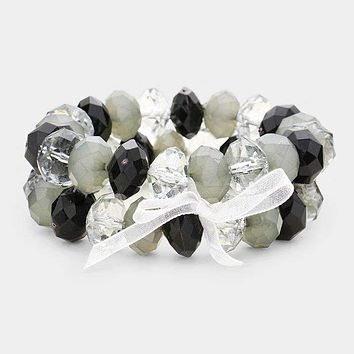 2Pcs Faceted Lucite Beaded Ribbon Stretch Bracelets
