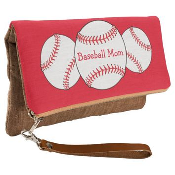 Baseball Mom Red and White Sports Clutch