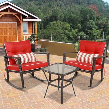 3 PCS Patio Rattan Wicker Furniture Set Rocking Chair Coffee Table W/Red Cushion