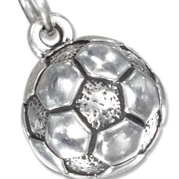 Sterling Silver Charm:  Antiqued Soccer Ball Charm