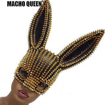 Riveted Bunny Ears Face Mask (Gold/Silver on Black)