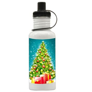Gift Water Bottles | Green Tree Christmas Aluminum Water Bottles