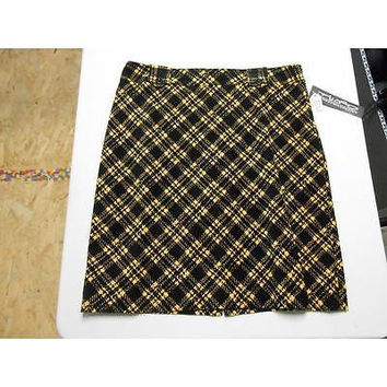 Women's Plaid Pencil Skirt, Black/Yellow Plaid, Size: 12 Windridge Cheryl Nash