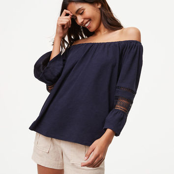 Lace Flounce Off The Shoulder Top | LOFT