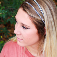 Silver Two-Strand Beaded Headband