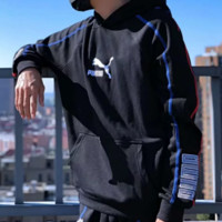 PUMA New fashion bust embroidery horse letter and sleeve hat letter print couple hooded long sleeve sweater top Black