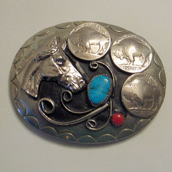 Vintage Navajo Horse Head Belt Buckle - Turquoise and Coral - SALE - Silver - Buffalo Nickels - Man - Woman -Dad's Birthday