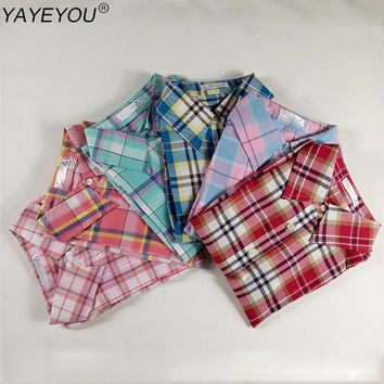 YAYEYOU Hot Blouse Shirt Women Plaid Cotton Long Sleeve Vintage Blouses Turn Down Collar Shirts Ladies Tops Fashion Clothing