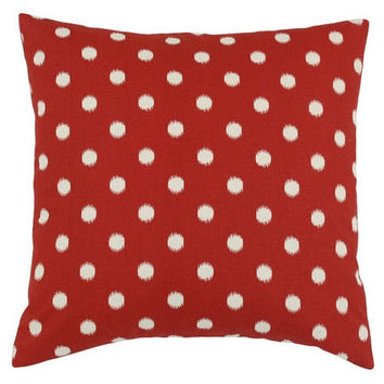 18x18 Red and Cream Cotton Ikat Dot Decorative Pillow Cover
