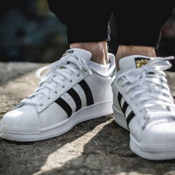 Adidas white Casual Shoes Superstar Gold Standard Shell Head  For Men and Women