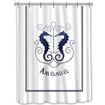 Vintage Seahorse Nautical Shower curtain customized Personalized Beach Navy