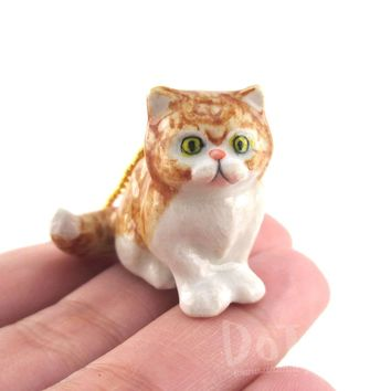 3D Porcelain Golden Ginger Persian Kitten Cat Shaped Pendant Necklace