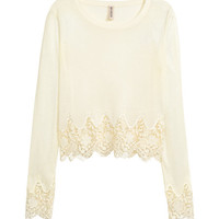 Sweater with Lace Trims - from H&M