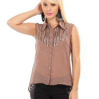 Sleeveless Chiffon Blouse With Sequins