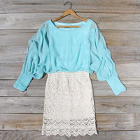Lace and Quartz Dress in Mint